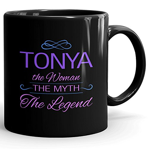 Tonya on mug - The Woman The Myth The Legend - Woman Gifts for Wife, Mom, Girlfriend - 11oz Black Mug - Purple
