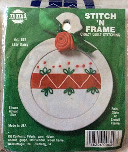 Lazy Daisy - Stitch N Frame Ornament - Crazy Quilt Stitching Kit (Lazy Daisy Stitch)