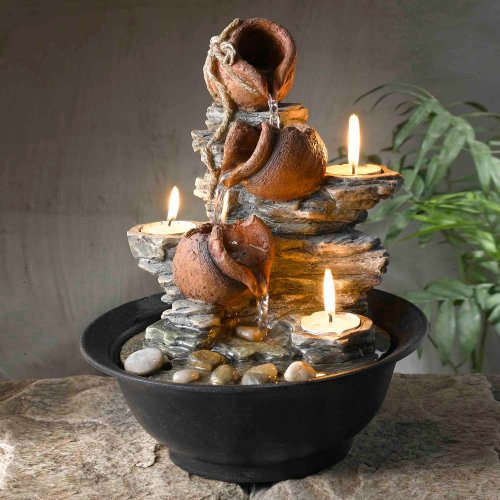 Tavolo Luci Mini Pot Tabletop Fountain with Candle by Jeco Inc.