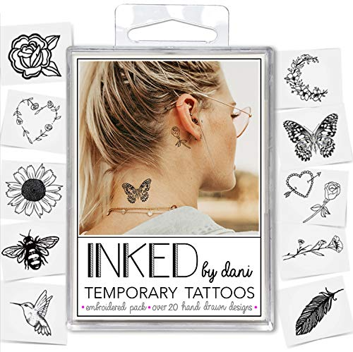 INKED by Dani Temporary Tattoo Designs - Embroidered Pack. Realistic, Hand-Drawn Body Art. (Lasts up to 2 weeks) from INKED by Dani