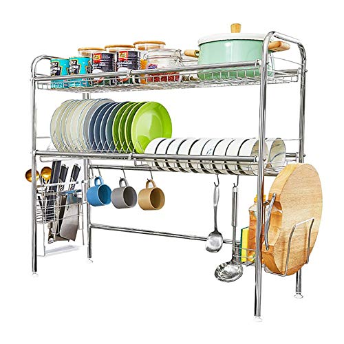 HEOMU Over The Sink Disk Drying Rack,2-Tier Dish Drainers for Kitchen Counter Made of Length Adjustable Stainless Steel