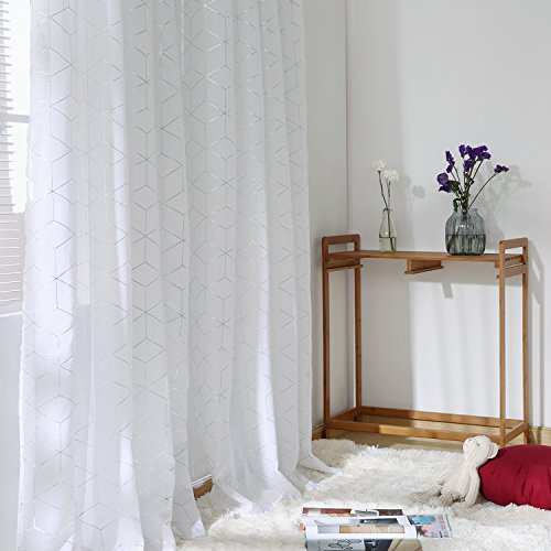 Deconovo Volie White Sheer Curtains Linen Look Silver Diamond Window Panels Set of 2 for Bedroom, 52x84 Inch,