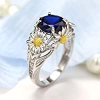 jindarat Two Tone Round Cut White Sapphire Daisy Promise Ring 925 Silver Women Jewelry (10)