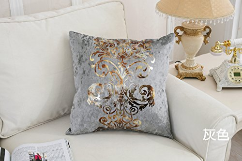 Jasmine European Style Hot Stamping Contracted Classic Tassel Table Runner and Dresser Scarves Doily (Gray, 2 PCS Square 1818 Inch Pillowcases)
