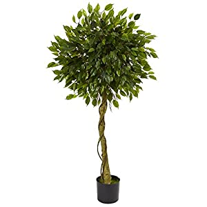 Nearly Natural Artificial, UV Resistant 5' Ficus Topiary Tree (Indoor/Outdoor) Green 24