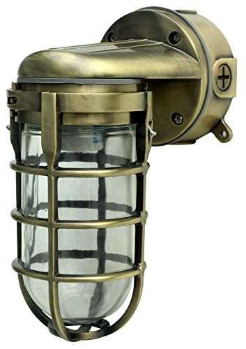 (Woods L1707SVAB Traditional 100W Incandescent Weather Industrial Light, Suitable for Indoor and Outdoor Use, Wall Mount, Metal Die Cast Construction and Tempered Glass Lens, Antique Brass )
