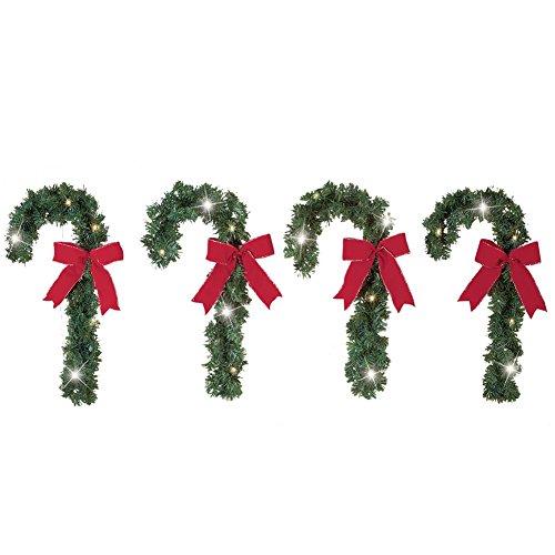 Solar Lighted Christmas Candycane Decorations