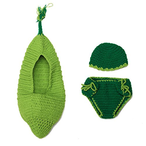 Green Bean Costumes (Newborn Boy Girl Handcrafted Crochet Knit Bean Outfit Photo Photography Props)