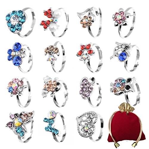 Shuning Children Kids 20pcs Cute Crystal Adjustable Rings Silver Jewelry -