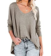 ANRABESS Women's Causal Off Shoulder Waffle Knit Shirt V-Neck Batwing Sleeve Pullover Curved Hem ...
