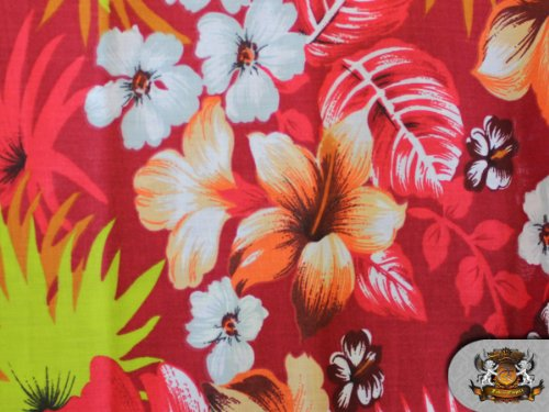 1 X Polycotton Printed HAWAIIAN RED Fabric By the Yard (Hawaiian Print Fabric)