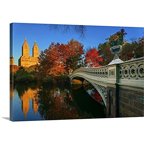 Bow Bridge in Central Park Canvas Wall Art Print, 48