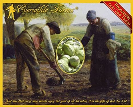 1//4 Lb Early Jersey Wakefield Cabbage Seeds Everwilde Farms Mylar Seed Packet