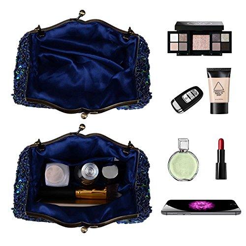Peacock Bag Rhinestone Beaded Handbag Full Clutch Sequins Purse 2017 Evening Women Blue Shining Embroidery Fashion SO0qa0