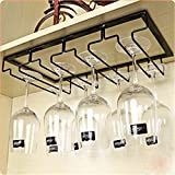 LINEX Hanging Wine Glass Rack 2 Rows Stainless steel Stemware Holder metal Wall-Mounted Wine Glass Hanger For Home,Bar ,Club , (2 Rows)