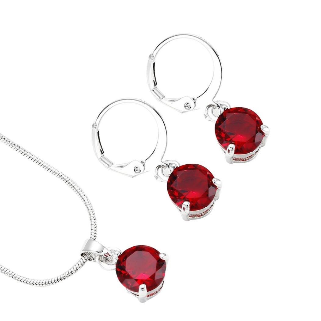LLguz Elegant Women Fashionable Zircon Round Necklace Pendant+Earring Necklace Ornament Jewellery Set (Red)