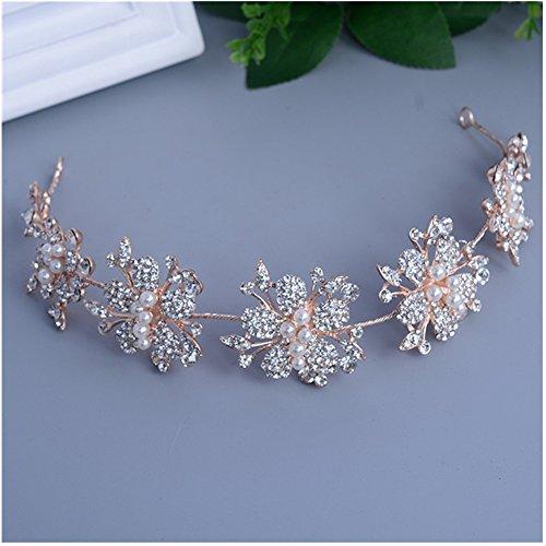 Xiwstar Baroque Bridal Wedding Hair Hoop Band Rose Gold Pearl Rhinestone Hair Tiaras Crown Headdress Headpiece