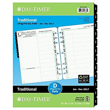 Day-Timer - Recambio para planificador diario 2017, dos ...