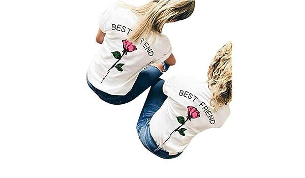 Mujeres camiseta, beikoard mujeres mejor amigo letras rosa Causal estampado T Shirts blusas Tops manga corta flores carta impresión camiseta t-shirt: ...
