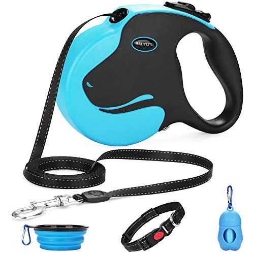 Babyltrl Upgraded Retractable Dog Leash, 360° Tangle-Free Dog Walking Leash for Heavy Duty up to 110lbs, 16ft Strong Reflective Nylon Tape with Anti-Slip Handle, One-Handed Brake, Pause, Lock (Dog Leash 16 Feet)