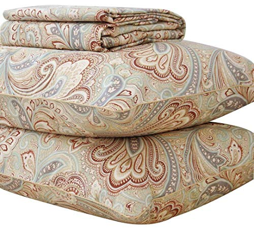 Queen's House Gold Paisley Print Cotton Bed Sheets-Queen Set,L
