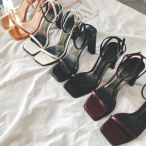 cuadrada alto con Black 7 comodín con de tacón Sandalias Zapatos alto hebilla de con 5cm femeninos tacón Sandalias tacón alto grueso verano de Zapatos de Fino VIVIOO Finas TtwS4qU