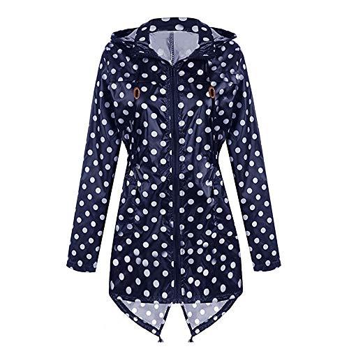 URIBAKE ❤️ Women's Raincoat Printed Polka Dots Lightweight Ultral Waterproof Outdoor Travel Hooded Coat