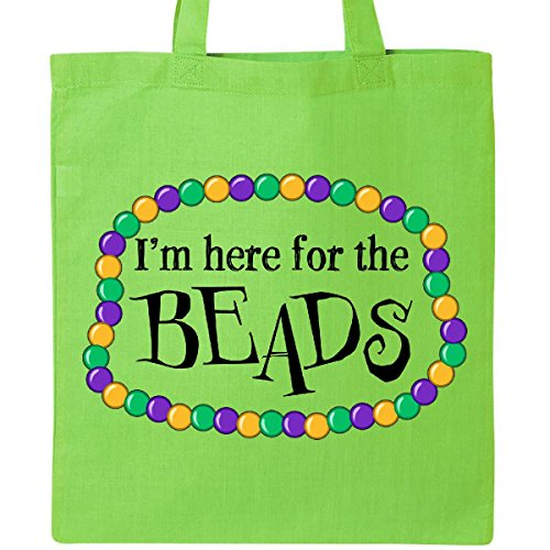 Inktastic I'm Here for the Beads Mardi Gras Tote Bag Lime - Quarter Orleans French New Shopping