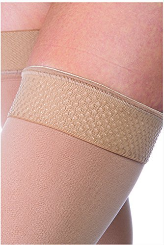 JOBST Relief 30-40 mmHg Compression Stockings, Thigh High with Silicone Band, Open Toe, Beige, X-Large by JOBST (Image #1)