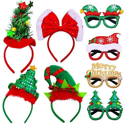Elcoho 8 Pack Christmas Headbands Xmas Party Glasses Christmas Decoration Costume Headbands Eyeglasses for Holiday Favors, Assorted Styles