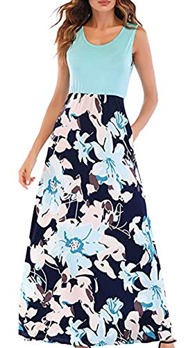 (Women's Floral Print Patchwork Cotton Blend Empire Waist T-Shirt Maxi Dresses)