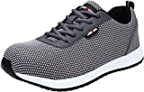 LARNMERN Steel Toe Shoes Men, Work Safety Reflective Strip SRC Industrial & Construction Shoe, LM1027 (8.5, Gray Flyknit S1)