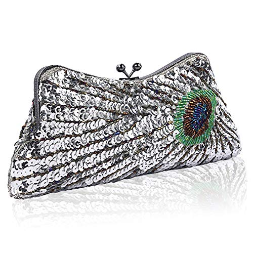 BABEYOND 1920s Flapper Peacock Clutch Gatsby Sequined Evening Handbag Beaded Bag (Style 1-Silver)