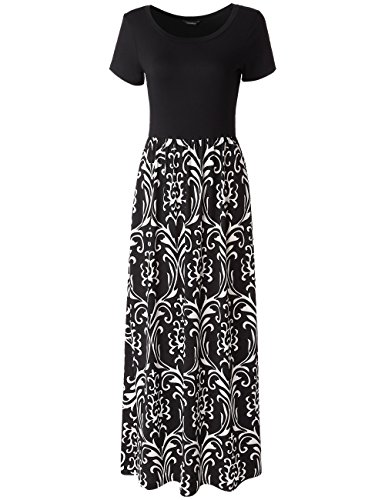 Dawiine Women's Short Sleeve Maxi Dress Round Neck Casual Long Dresses with Pockets (Small, Black (Canvas Cotton Skirt)