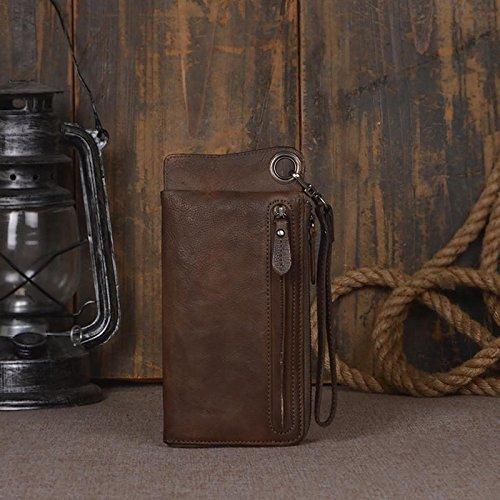 Handmade Genuine Leather Wallet Unisex Long Wallet Money Purse Card Holder iphone
