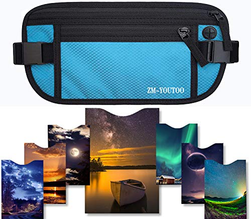 521ed28f44f4 Travel Money Belt-RFID Blocking Travel Wallet Passport Holder Waterproof  Pouch With 7 RFID Sleeves for Credit Card Passport Security (Blue)
