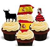 Spain Fun Pack, Edible Cupcake Toppers - Stand-up Wafer Cake Decorations by Made4You