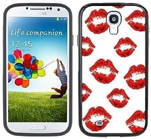 Lips Kiss Handmade Samsung Galaxy S4 Black Bumper Hard Plastic Case