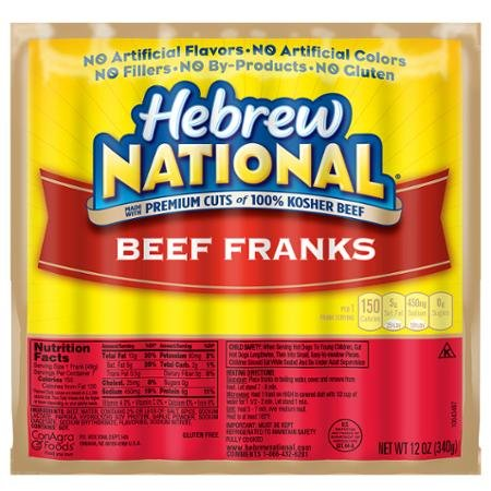 Hebrew National Beef Franks 12 Oz 6 Pack