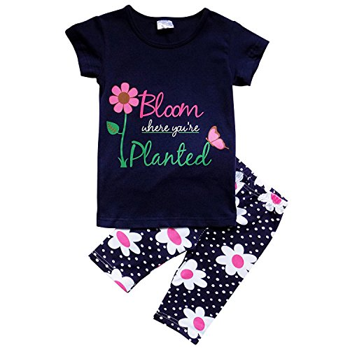 - So Sydney Girls Toddler 2 Pc Novelty Summer Long Shorts & T-Shirt or Tunic Top Daisy (S (3T), Bloom Where Planted)