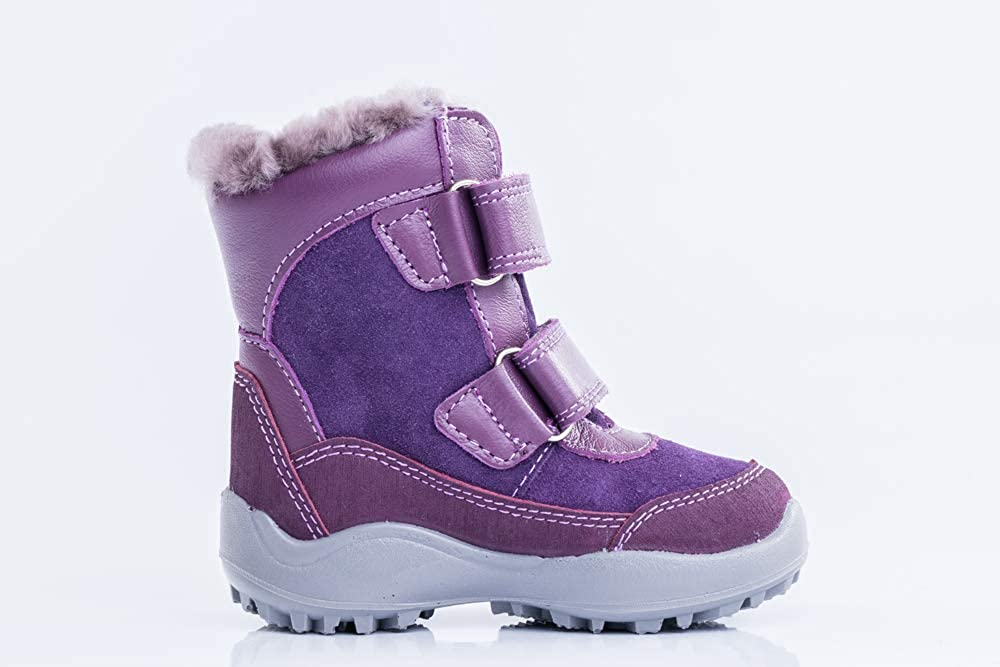 Kotofey Girls Purple Boots 52161-52 Genuine Leather Boots with Sheep Fur Lining