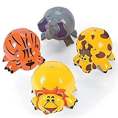 (4) JUNGLE ZOO ANIMAL Shaped Inflatable Beach Balls - Blow Up Pool Party Favors