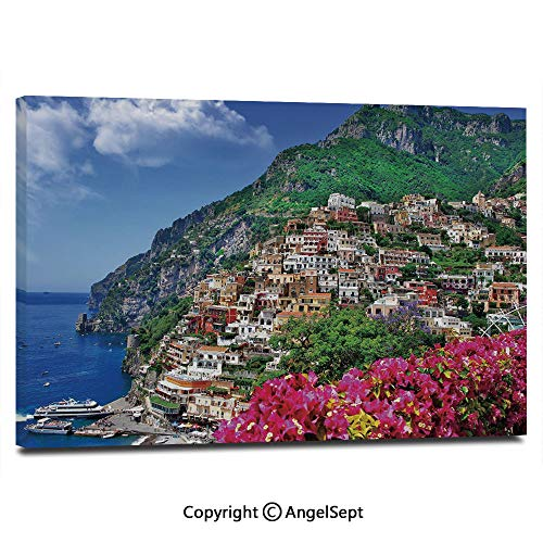 Wall Art Decor High Definition Scenic View of Positano Amalfi Naples Blooming Flowers Coastal Village Image Painting Home Decoration Living Room Bedroom Background,16