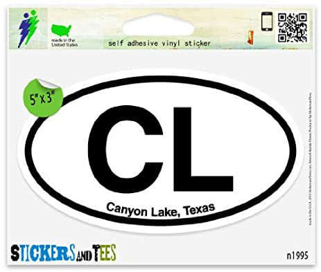 Cl canyon lake texas oval car sticker indoor outdoor 5