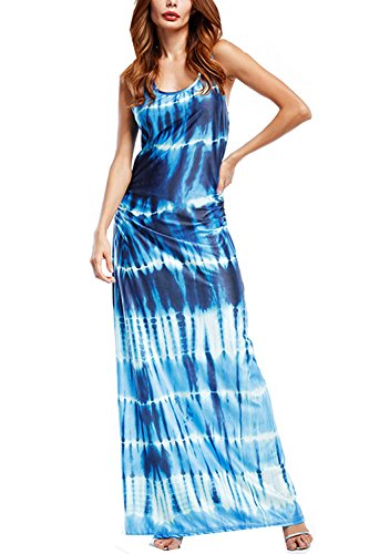 XIMAN Women Boho Round Neck sleeveless Tie Dye Print Long Casual Maxi Dress (X-Large, Blue)
