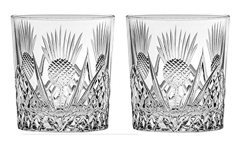 Crystal Thistle - Royal Scot Crystal Scottish Thistle Set of 2 British Hand Cut Crystal 11oz Large Whisky Tumblers Presentation Box