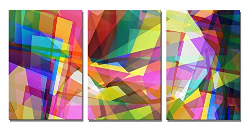 Yin Art 3-Panel Split Canvas Wall Art Set - Modern Colorful Abstract