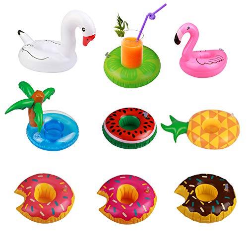 Mini Flotador 9pcs para sostenedor Bebida de Flotador Hinchable Piscina Fiesta de Unicornio inflador o Juguetes hinchables de niños