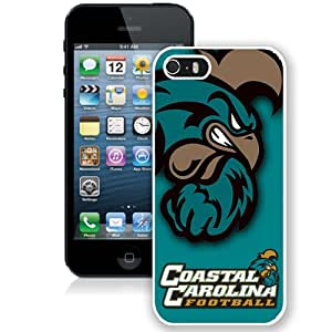 Fashionable And Unique Designed With NCAA Big South Conference Coastal Carolina Chanticleers 6 Protective Cell Phone Hardshell Cover Case For iPhone 5S Phone Case White