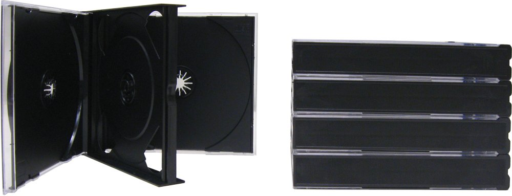 5 QUAD CD THICK/CHUBBY JEWEL CASES #CD4R24DG - Holds 4 CDs! 24mm Thick